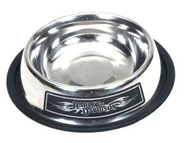 Harley-Davidson Stainless Steel Dog Bowl 32oz. Skid-Proof Bottom H8532-SSL32 - Wisconsin Harley-Davidson