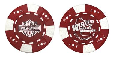 Harley-Davidson Wisconsin Harley-Davidson Poker Chip Red & White CHIP - Wisconsin Harley-Davidson