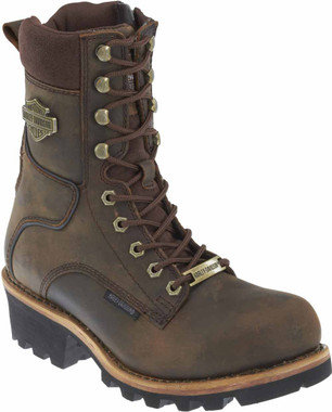 Harley-Davidson Men's Tyson 7.5-Inch Brown Logger Style Motorcycle Boots D96100 - Wisconsin Harley-Davidson