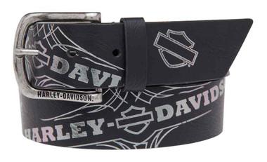Harley-Davidson Women's Mirage Foil Printed Belt, Genuine Leather HDWBT11024-BLK - Wisconsin Harley-Davidson