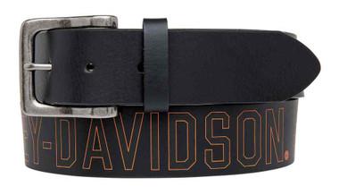 Harley-Davidson Men's Milwaukee Original Belt, Black Leather Belt HDMBT11031-BLK - Wisconsin Harley-Davidson