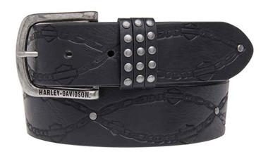 Harley-Davidson Women's Embossed Linked Belt, Genuine Leather HDWBT11026-BLK - Wisconsin Harley-Davidson