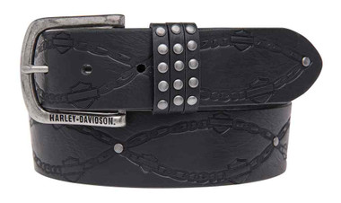 Harley-Davidson Women's Embossed Linked Belt, Genuine Leather HDWBT11026-BLK - Wisconsin Harley-Davidson