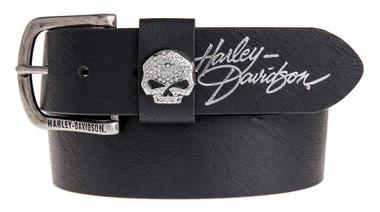 Harley-Davidson Women's Rock Candy Embellish Willie G Skull Belt HDWBT11023-BLK - Wisconsin Harley-Davidson