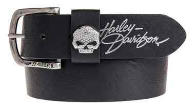 Harley-Davidson Women's Rock Candy Embellish Willie G Skull Belt HDWBT11023-BLK - Wisconsin Harley-Davidson