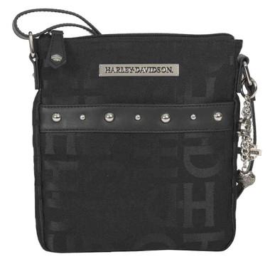 Harley-Davidson Women's H-D Jacquard Slim Crossbody Purse, Black HD3472J-BLACK - Wisconsin Harley-Davidson