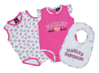 Harley-Davidson Baby Girls' Glittery Infant 2-Pack Creeper w/ Bib Set 3012609 - Wisconsin Harley-Davidson