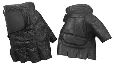 Redline Men's Perforated Fingerless Motorcycle Leather Gloves, Black G-059PR - Wisconsin Harley-Davidson