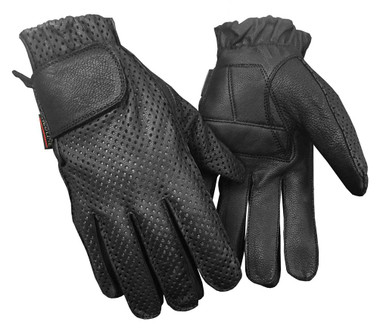 Redline Men's Gel Padded Full-Finger Motorcycle Leather Gloves, Black G-055PR - Wisconsin Harley-Davidson