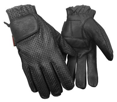 Redline Men's Gel Padded Full-Finger Motorcycle Leather Gloves, Black G-055PR - Wisconsin Harley-Davidson