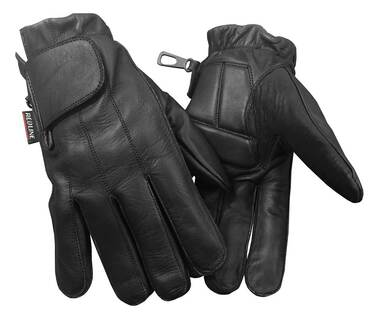 Redline Men's Anti-Vibration Full-Finger Motorcycle Leather Gloves, Black G-055 - Wisconsin Harley-Davidson