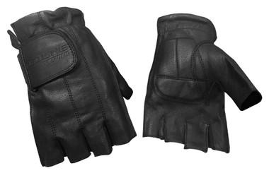 Redline Men's Gel Padded Fingerless Motorcycle Leather Gloves, Black G-059 - Wisconsin Harley-Davidson