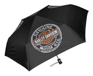 Harley-Davidson Motor Oil Bar & Shield Mini Retractable Umbrella Black UMB469301 - Wisconsin Harley-Davidson