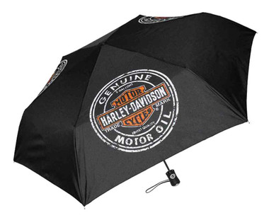 Harley-Davidson Motor Oil Bar & Shield Mini Retractable Umbrella Black UMB469301 - Wisconsin Harley-Davidson
