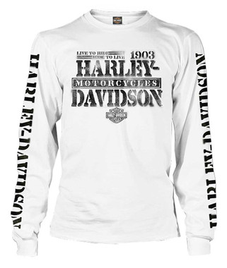 Harley-Davidson Men's Distressed Freedom Fighter Long Sleeve Shirt, White - Wisconsin Harley-Davidson