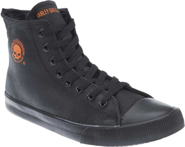 "Harley-Davidson Men's Baxter Black/Orange 4.5"" Leather Hi-Cut Sneakers D93343 - Wisconsin Harley-Davidson"