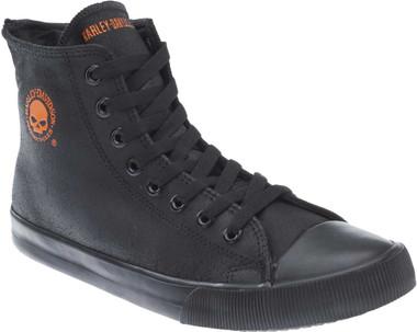 """Harley-Davidson Men's Baxter Black/Orange 4.5"""" Leather Hi-Cut Sneakers D93343 - Wisconsin Harley-Davidson"""