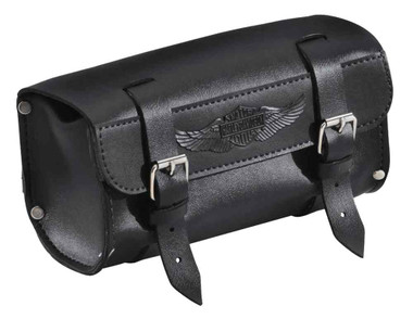 Harley-Davidson Handlebar/Fork Bag, Durable Leather, 8 inch Black 91744-87T - Wisconsin Harley-Davidson