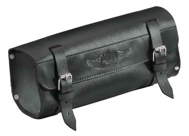 Harley-Davidson Handlebar/Fork Bag, Durable Leather, 11 inch Black 91743-87T - Wisconsin Harley-Davidson