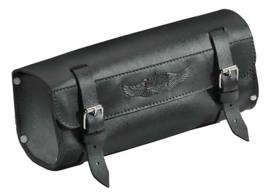 Harley-Davidson Handlebar/Fork Bag, Durable Leather, 11 inch Black 91743-87T - Wisconsin Harley-Davidson