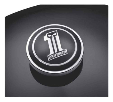 Harley-Davidson Dark Custom Logo Fuel Cap Medallion, Adhesive Backing 99688-10 - Wisconsin Harley-Davidson