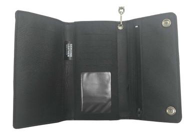 Men's Credit Card Tri-Fold Biker Style Chain Wallet, Black Genuine Leather BW339 - Wisconsin Harley-Davidson