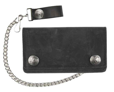 Genuine Leather Men's 6 in Biker Chain Wallet w/ Buffalo Snaps, Black UB410 - Wisconsin Harley-Davidson