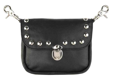 Mascorro Women's Studded Clip Pouch Hip Bag, Black Leather Biker Style BC62 - Wisconsin Harley-Davidson