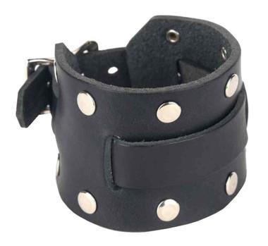 Genuine Leather Men's Studded Leather Watchband, Adjustable Fit, Black LW-2R - Wisconsin Harley-Davidson