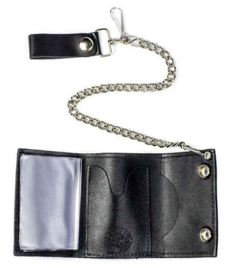 Men's Flames Tri-Fold Biker Styled Chain Wallet, Genuine Leather TC304C-111 - Wisconsin Harley-Davidson