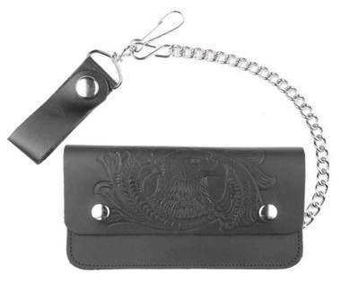 Genuine Leather Men's Embossed Eagle 8 in Trucker Chain Wallet, Black TW401-32 - Wisconsin Harley-Davidson