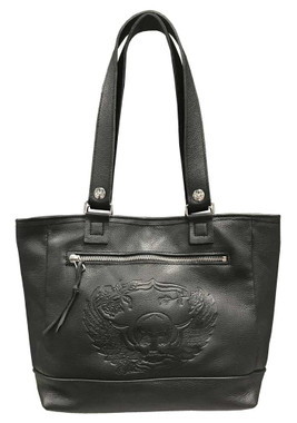 Genuine Leather Women's Embossed Winged Skull Soft Leather Tote Bag, Black SK681 - Wisconsin Harley-Davidson