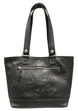 Genuine Leather Women's Embossed Winged Skull Soft Leather Tote Bag, Black SK681 - Wisconsin Harley-Davidson