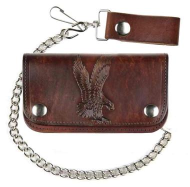 "Mascorro Men's 6"" Embossed Eagle Antique Biker Chain Leather Wallet AB412-42 - Wisconsin Harley-Davidson"