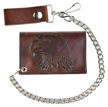 Mascorro Men's Embossed Eagle Head Tri-Fold Antique Biker Chain Wallet AT322-40 - Wisconsin Harley-Davidson