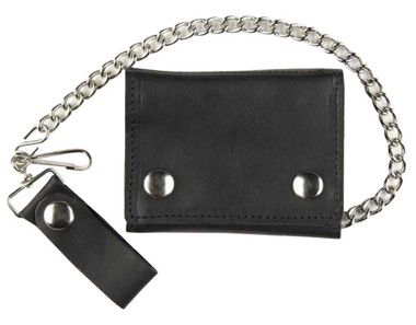 Motorcycle Men's Large Tri-Fold Biker Chain Wallet, Genuine Black Leather TC315 - Wisconsin Harley-Davidson