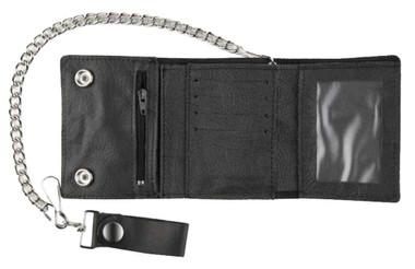 Motorcycle Men's Large Tri-Fold Biker Chain Wallet, Genuine Black Leather TC315 - Wisconsin Harley-Davidson