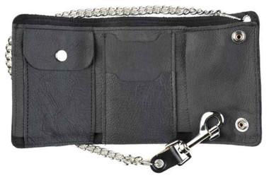 Genuine Leather Men's XL Tri-Fold Biker Chain Wallet w/ Skull Snaps, Black SK325 - Wisconsin Harley-Davidson