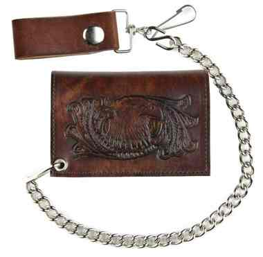 Genuine Leather Men's Eagle Head Antique Tri-Fold Biker Chain Wallet AT322-32 - Wisconsin Harley-Davidson