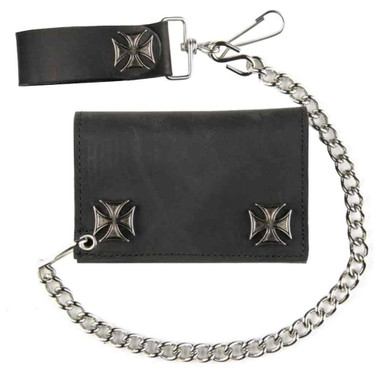 Genuine Leather Men's Tri-Fold Biker Chain Wallet w/ Maltese n Cross Snaps IC328 - Wisconsin Harley-Davidson
