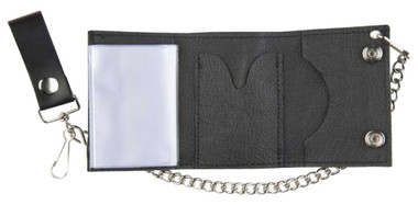 Motorcycle Men's Tri-Fold Biker Chain Wallet, Black Genuine Leather TC304-23 - Wisconsin Harley-Davidson