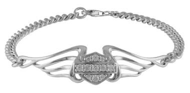 Harley-Davidson Women's Bling B&S Pierced Wings Chain Bracelet HDB0364 - Wisconsin Harley-Davidson