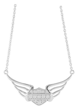 Harley-Davidson Women's Bling Bar & Shield Pierced Wings Necklace HDN0348-18 - Wisconsin Harley-Davidson