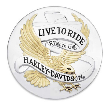 Harley-Davidson Live To Ride Eagle Gold Adhesive Medallion, 3.5 inches 99027-90T - Wisconsin Harley-Davidson