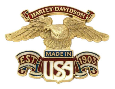 Harley-Davidson Made in USA Eagle Self-Adhesive Medallion, 3 x 4 inch 99000-77 - Wisconsin Harley-Davidson