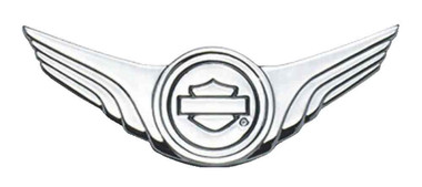 Harley-Davidson Chrome Wing Bar & Shield Decorative Medallion,4 x 1.5in 91745-02 - Wisconsin Harley-Davidson