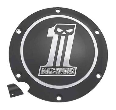 Harley-Davidson Dark Custom #1 Skull Derby Cover, Fits XL Models 25563-09 - Wisconsin Harley-Davidson
