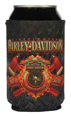 Harley-Davidson Firefighter Original Can Wrap Flat Black & Red Neoprene CF126581 - Wisconsin Harley-Davidson