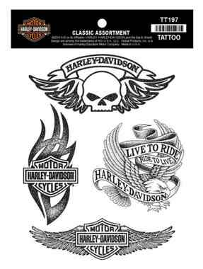 Harley-Davidson Temporary Tattoos, Classic Tattoo Assortment, Black TT197 - Wisconsin Harley-Davidson