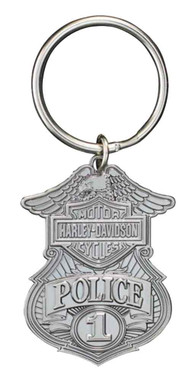 Harley-Davidson Police Original 3D Die Cast Key Chain, Antique Nickel KY126306 - Wisconsin Harley-Davidson